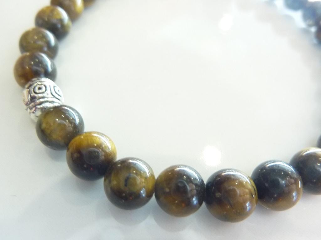 Bracelet Oeil de tigre - Perles ronde 6 mm