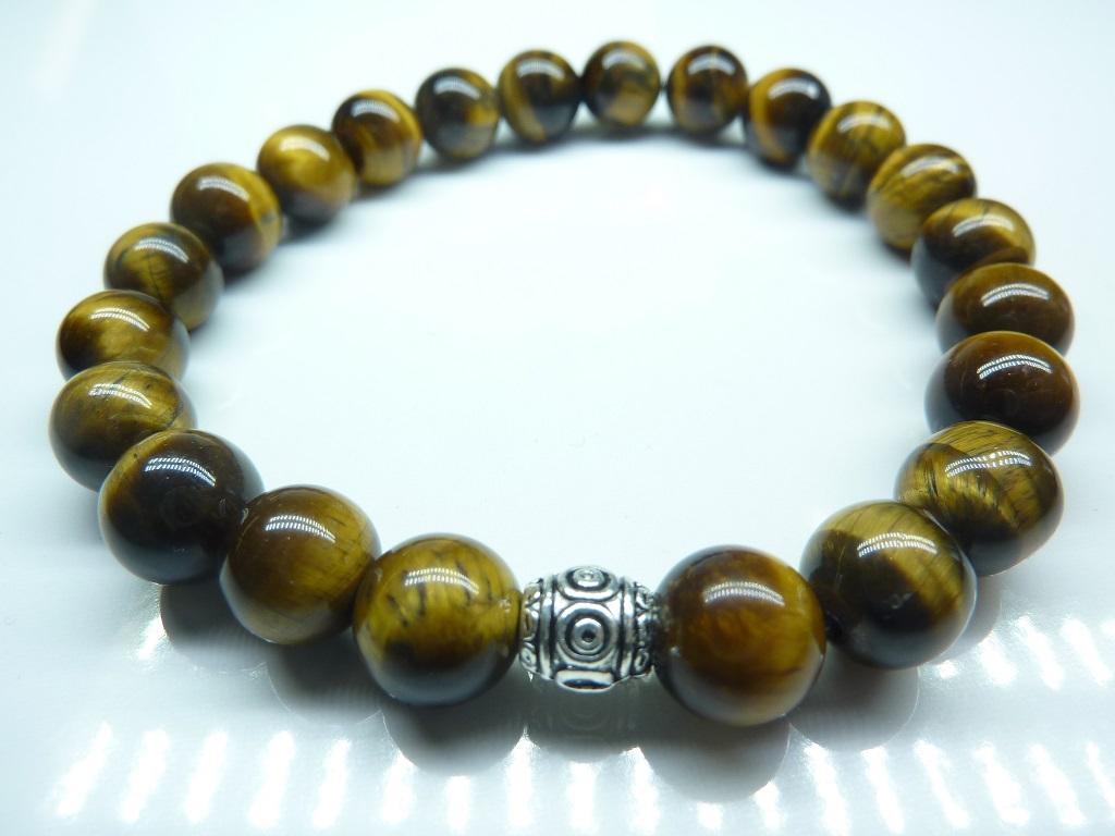 Bracelet Oeil de tigre - Perles ronde 8 mm