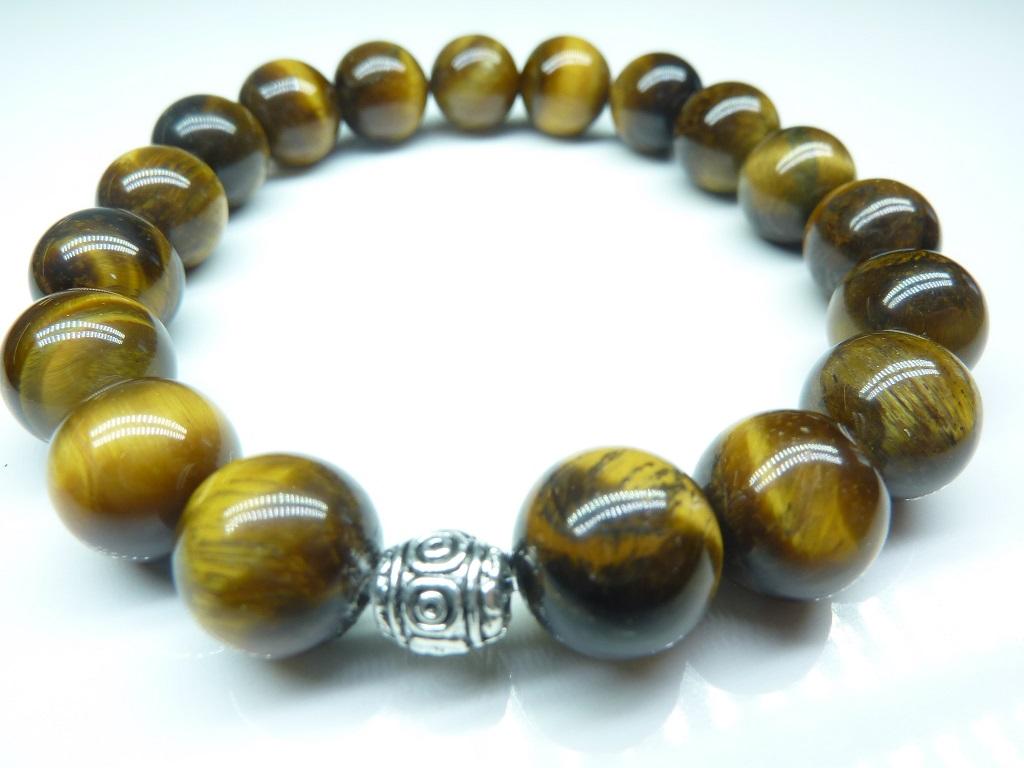 Bracelet Oeil de tigre - Perles ronde 10 mm