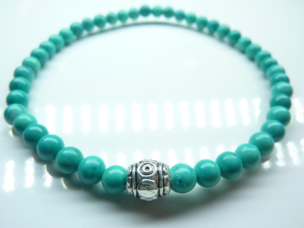 Bracelet Turquoise - Perles rondes 4 mm