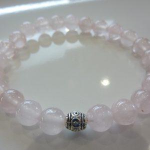 Bracelet Quartz rose - Perles rondes 8mm