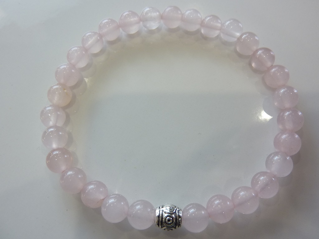 Bracelet Quartz rose - Perles rondes 6mm