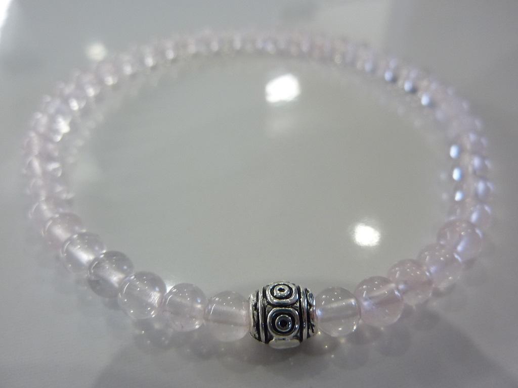Bracelet Quartz rose - Perles rondes 4mm