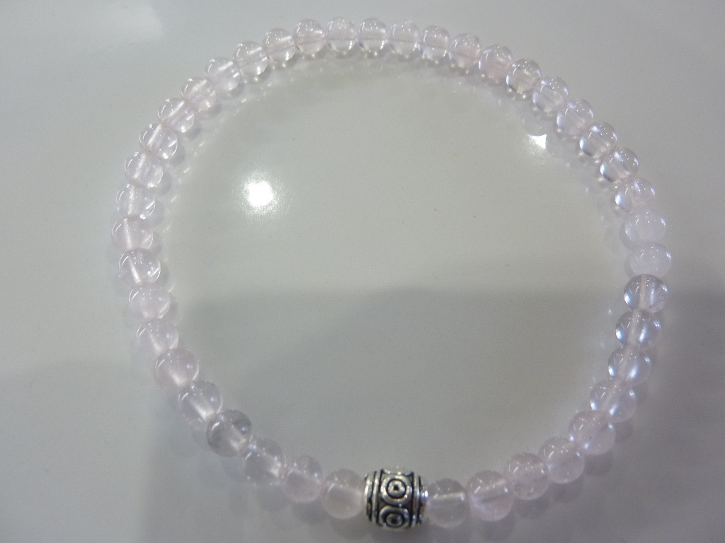 Bracelet Quartz rose - Perles rondes 4 mm