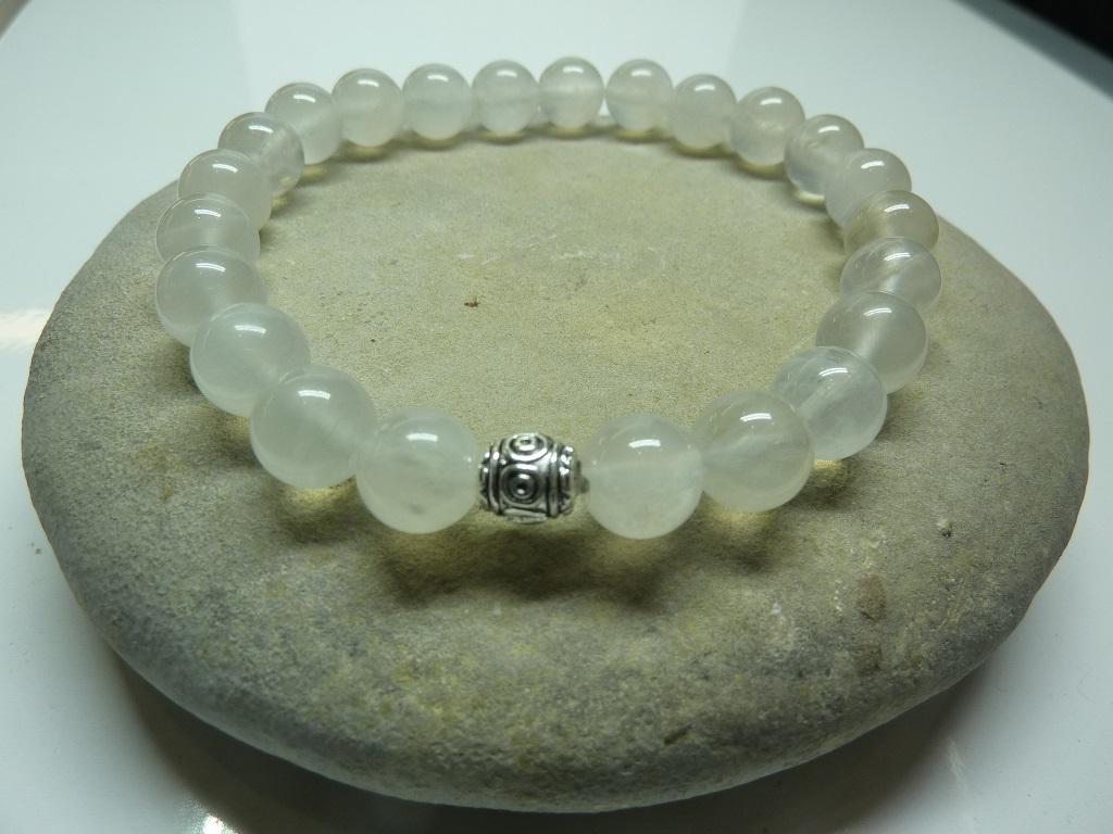 Bracelet Pierre de lune - Perles rondes 8 mm