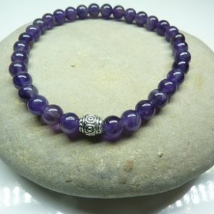 Bracelet Améthyste - Perles rondes 6 mm