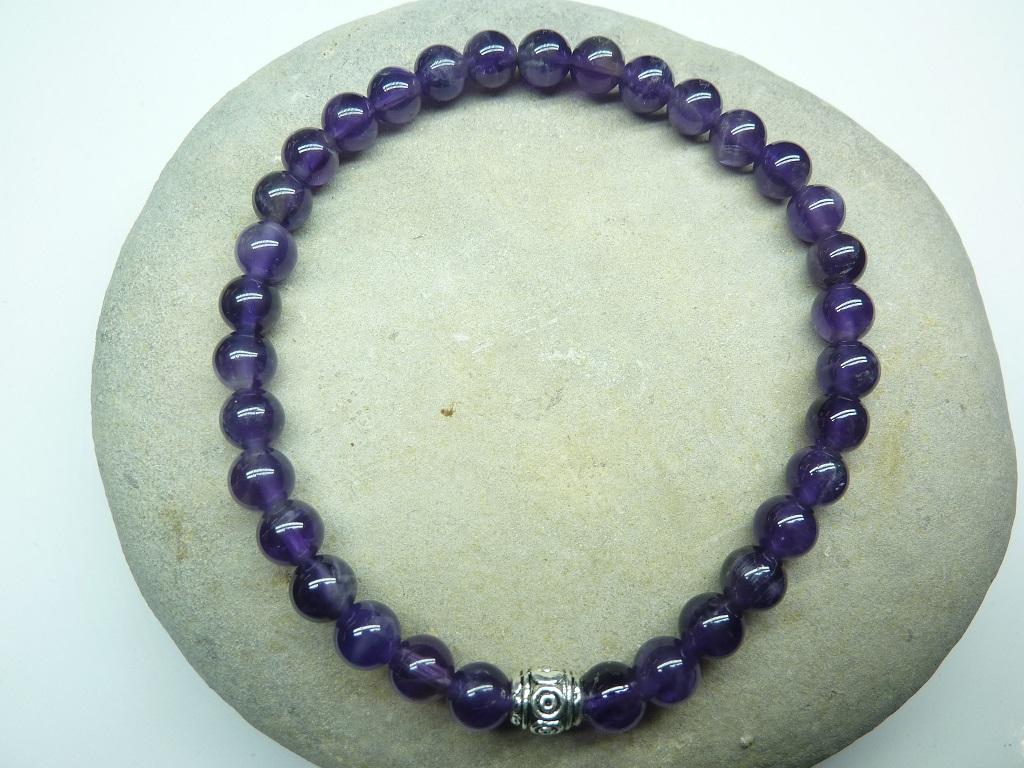 Bracelet Améthyste en perles rondes 6 mm