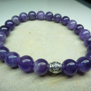 Bracelet Améthyste - Perles rondes 8 mm