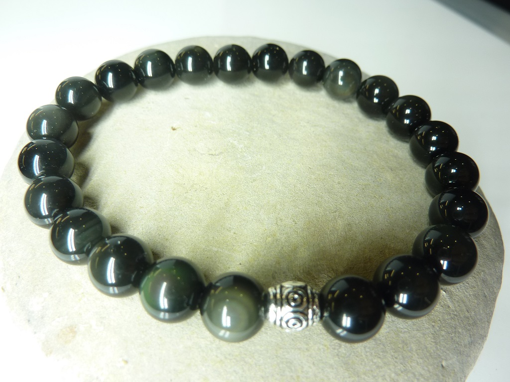 Bracelet Obsidienne oeil céleste en perles rondes 8 mm