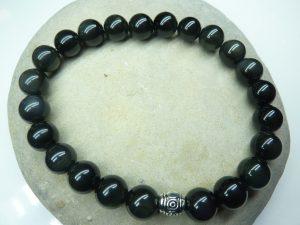 Bracelet Obsidienne oeil céleste - Perles rondes 8 mm