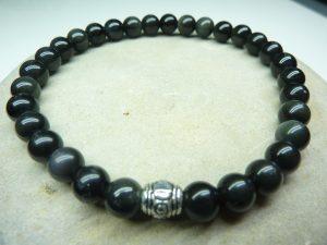 Bracelet Obsidienne oeil céleste - Perles rondes 6 mm
