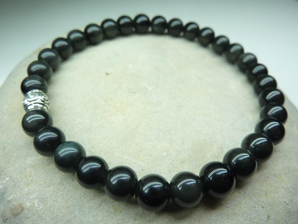 Bracelet Obsidienne oeil céleste en perles rondes 6 mm