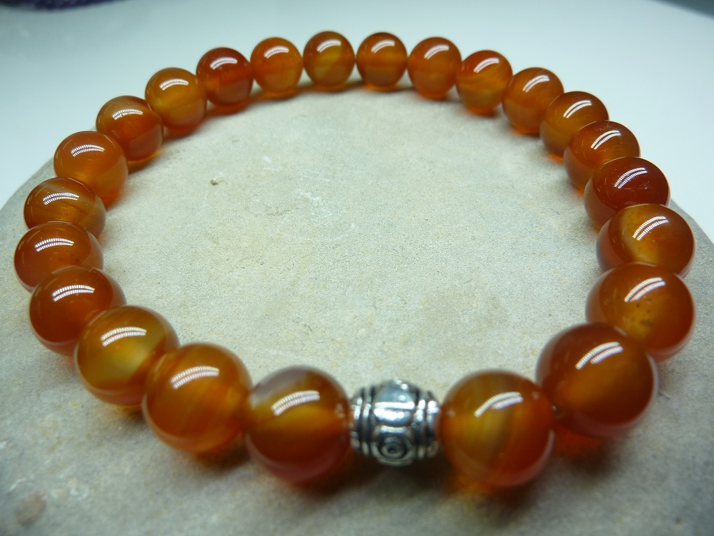 Bracelet Cornaline - Perles rondes 8 mm