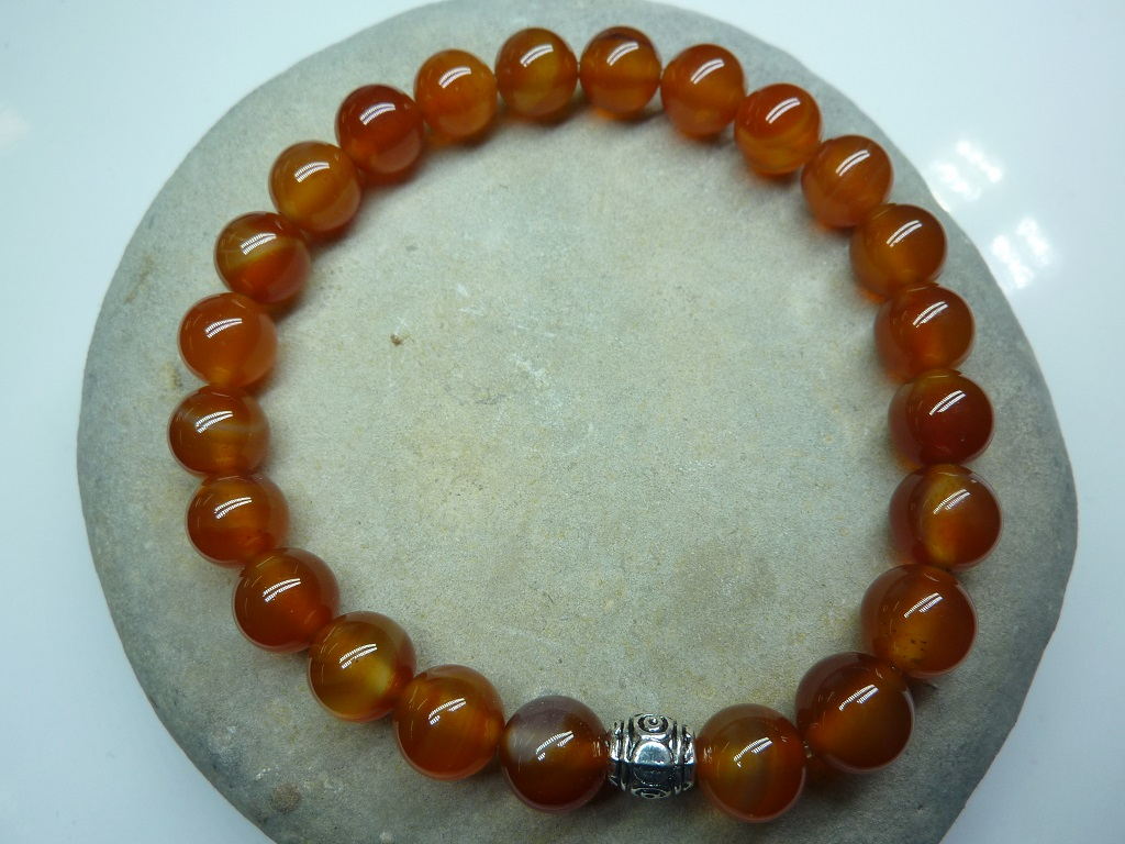 Bracelet Cornaline en perles rondes 8 mm