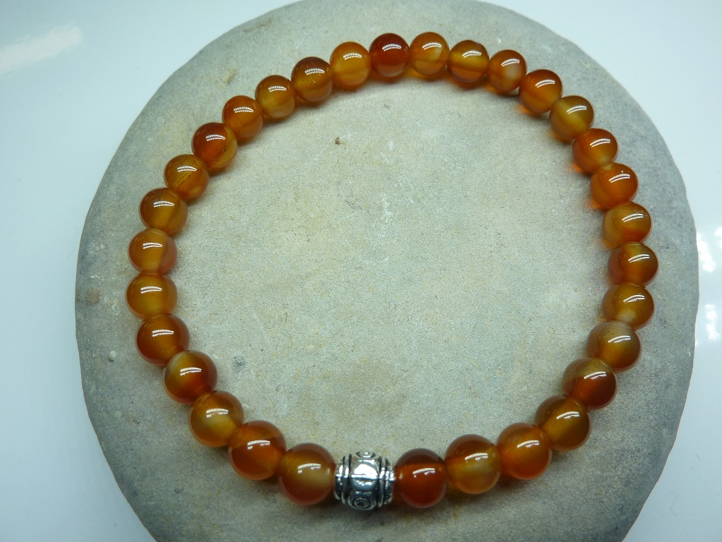 Bracelet Cornaline en perles rondes 6 mm