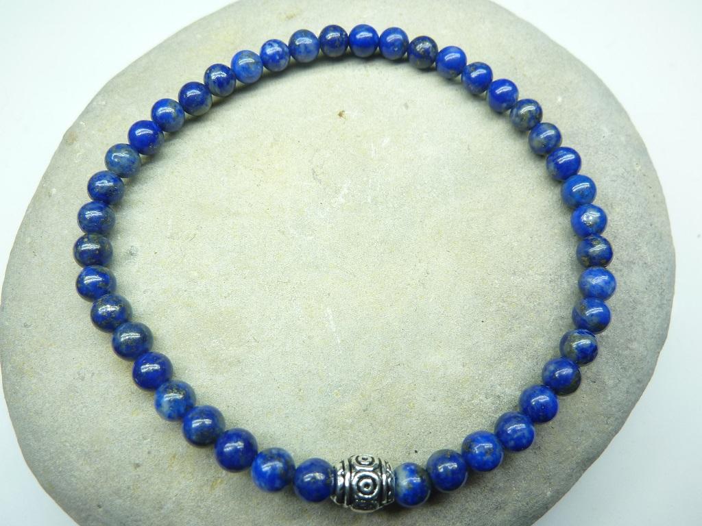 Bracelet Lapis Lazuli en perles rondes 4 mm