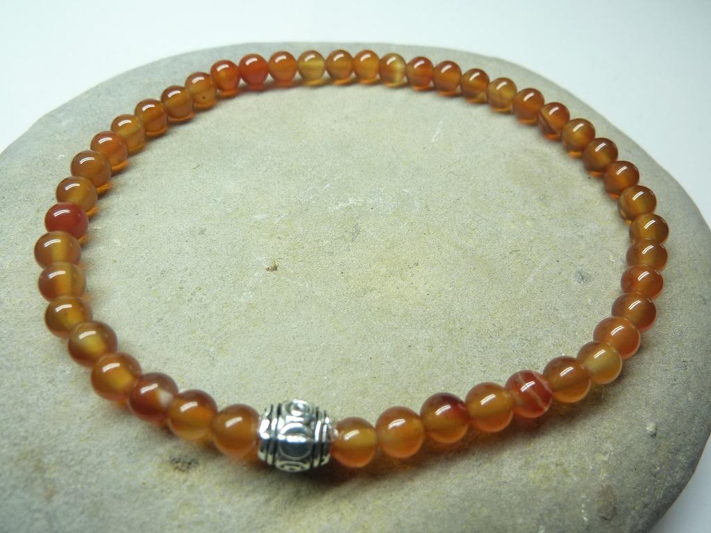Bracelet Cornaline - Perles rondes 4 mm