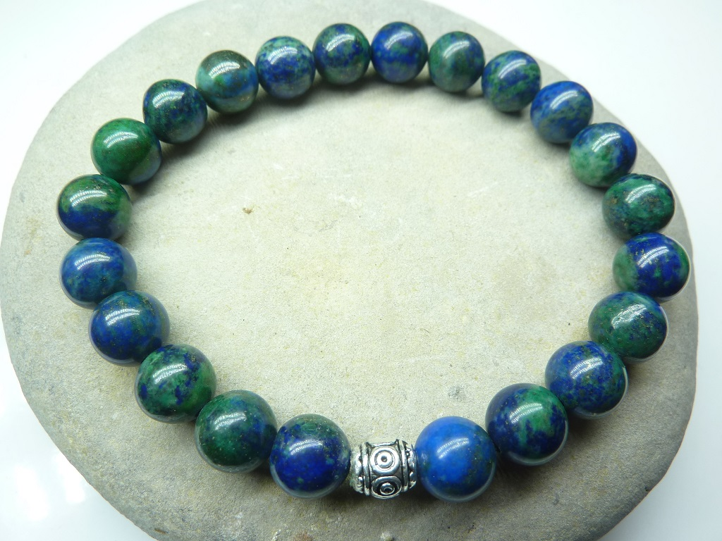 Bracelet Azurite Malachite - Perles rondes 8 mm