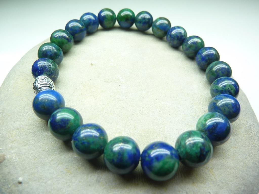 Bracelet Azurite Malachite en perles rondes 8 mm