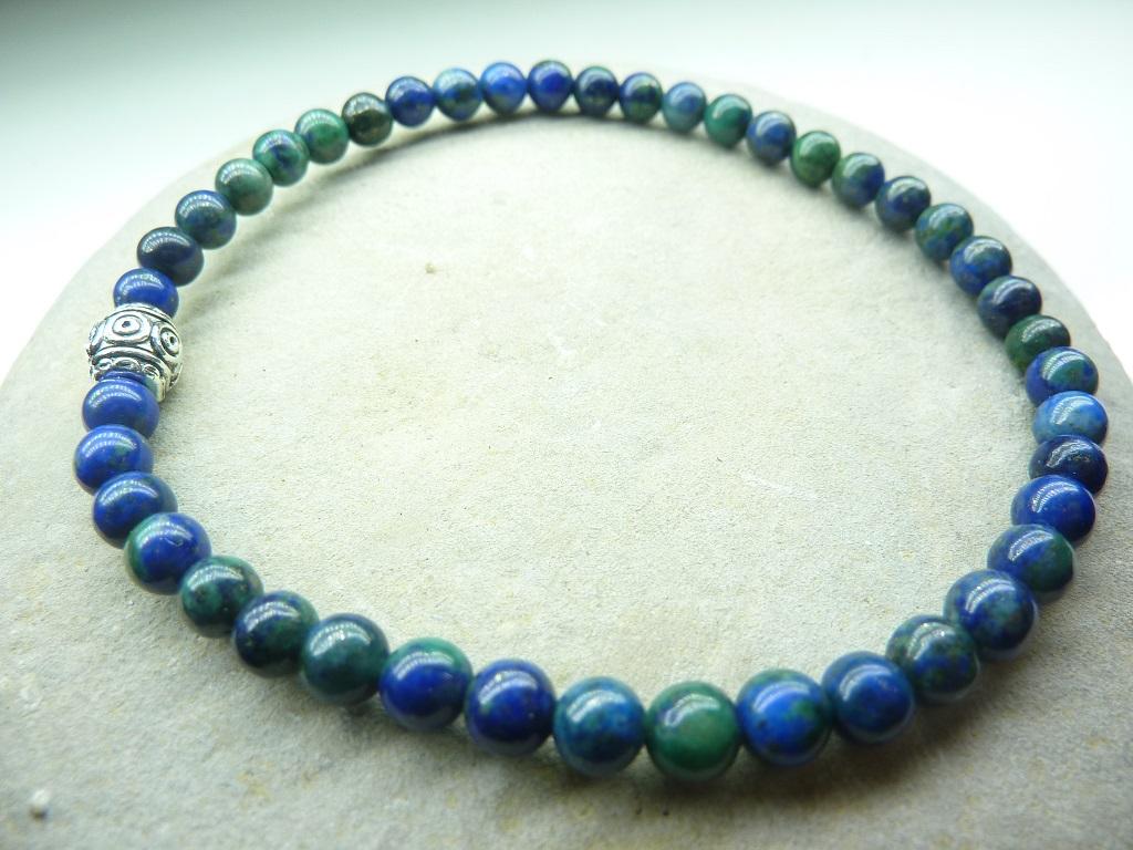 Bracelet Azurite Malachite en perles rondes 4 mm