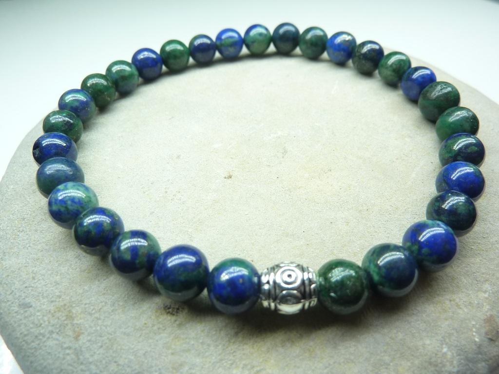 Bracelet Azurite Malachite - Perles rondes 6 mm