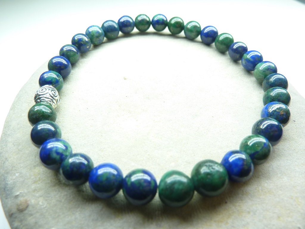Bracelet Azurite Malachite en perles rondes 6 mm