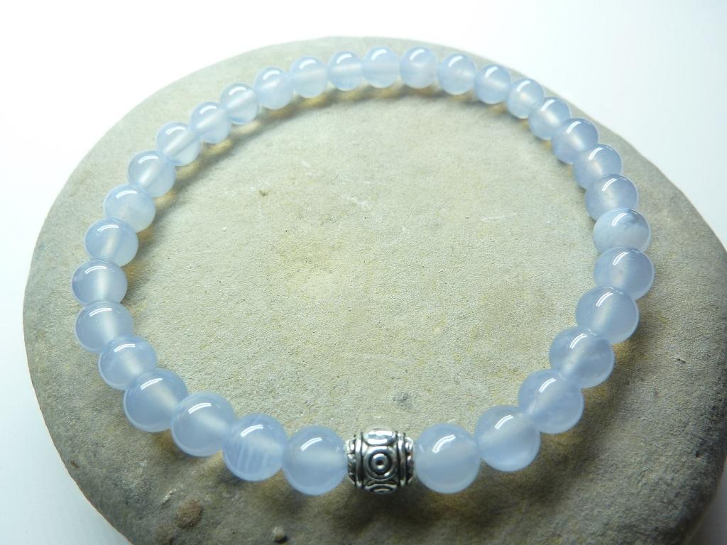 Bracelet Calcédoine bleue - Perles rondes 6 mm