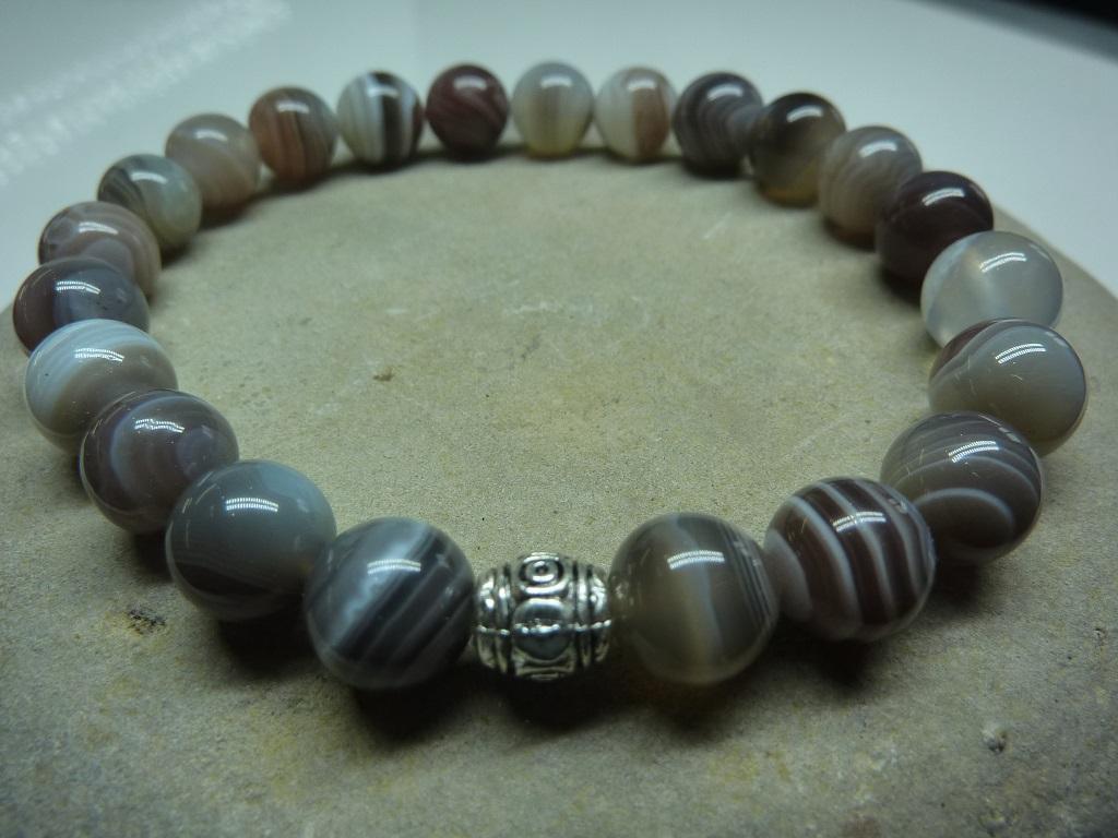 Bracelet Agate Botswana en perles rondes 8 mm