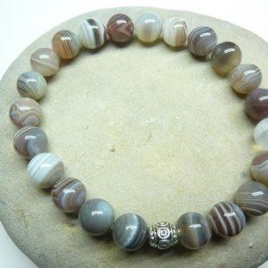 Bracelet Agate Botswana - Perles rondes 8 mm
