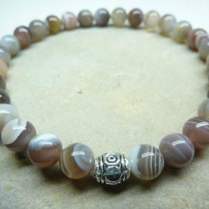 Bracelet Agate Botswana - Perles rondes 6 mm