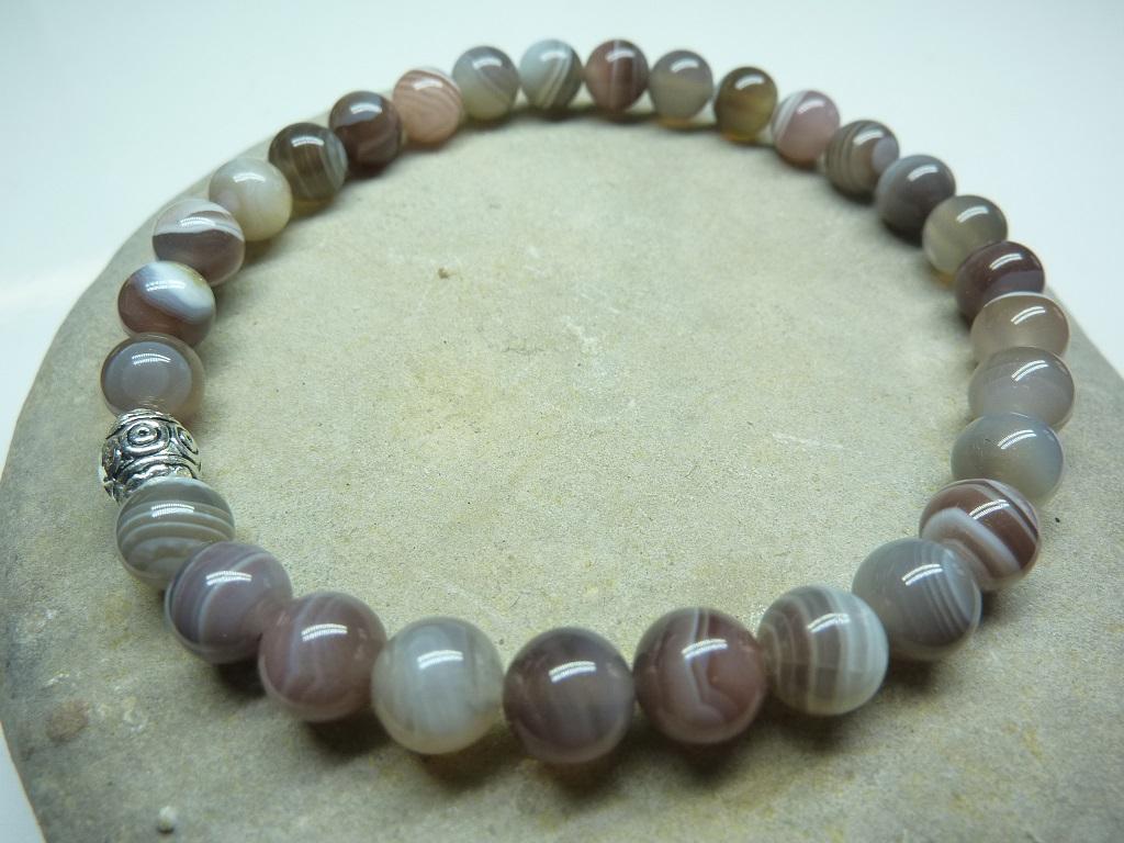 Bracelet Agate Botswana en perles rondes 6 mm