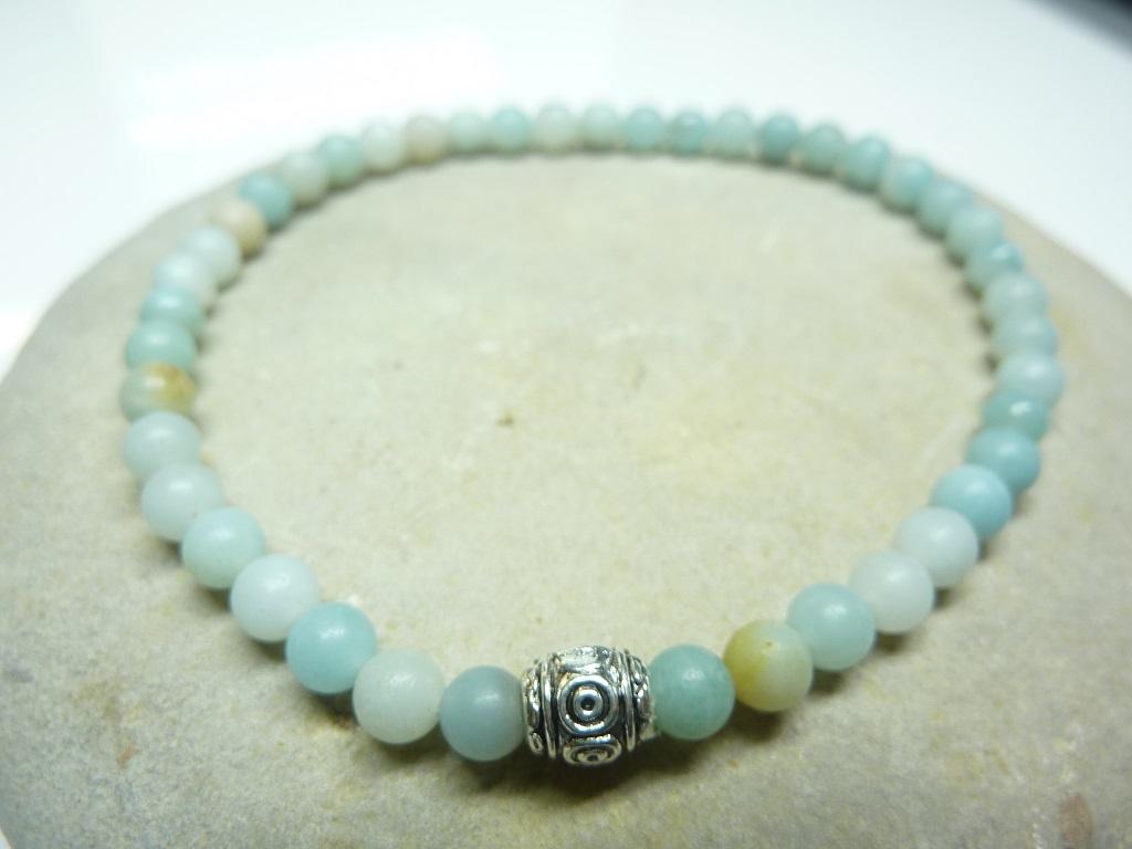 Bracelet Amazonite en perles rondes 4 mm