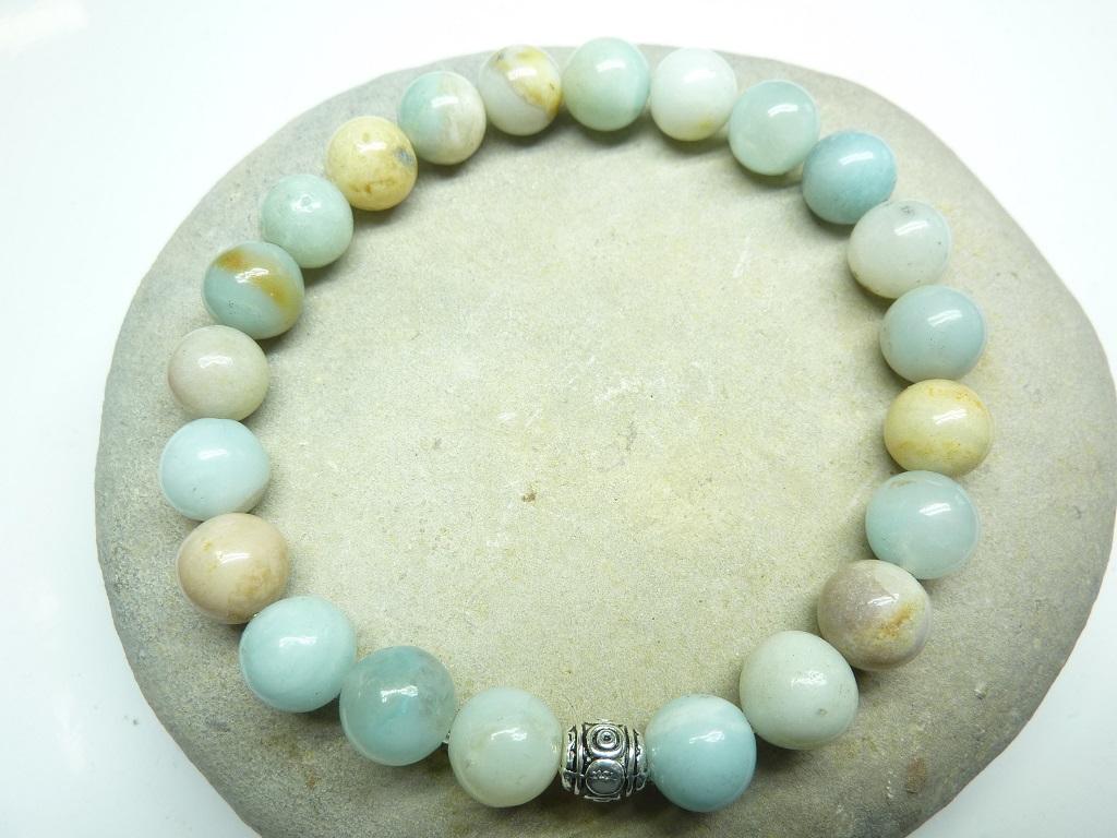 Bracelet Amazonite en perles rondes 8 mm
