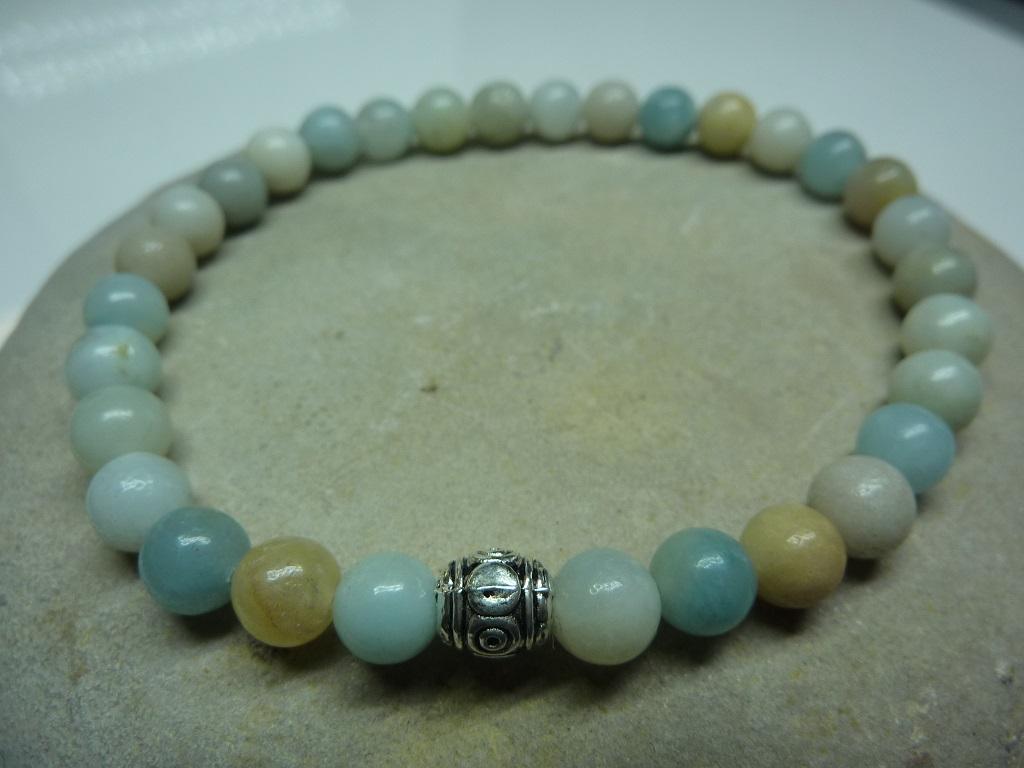 Bracelet Amazonite en perles rondes 6 mm