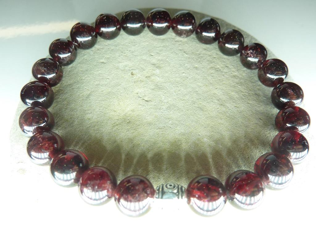 Bracelet Grenat en perles rondes 8 mm