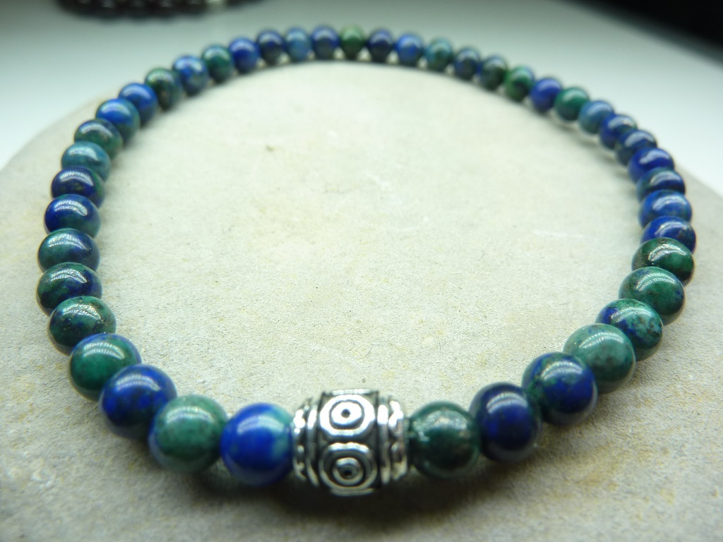 Bracelet Azurite Malachite - Perles rondes 4 mm