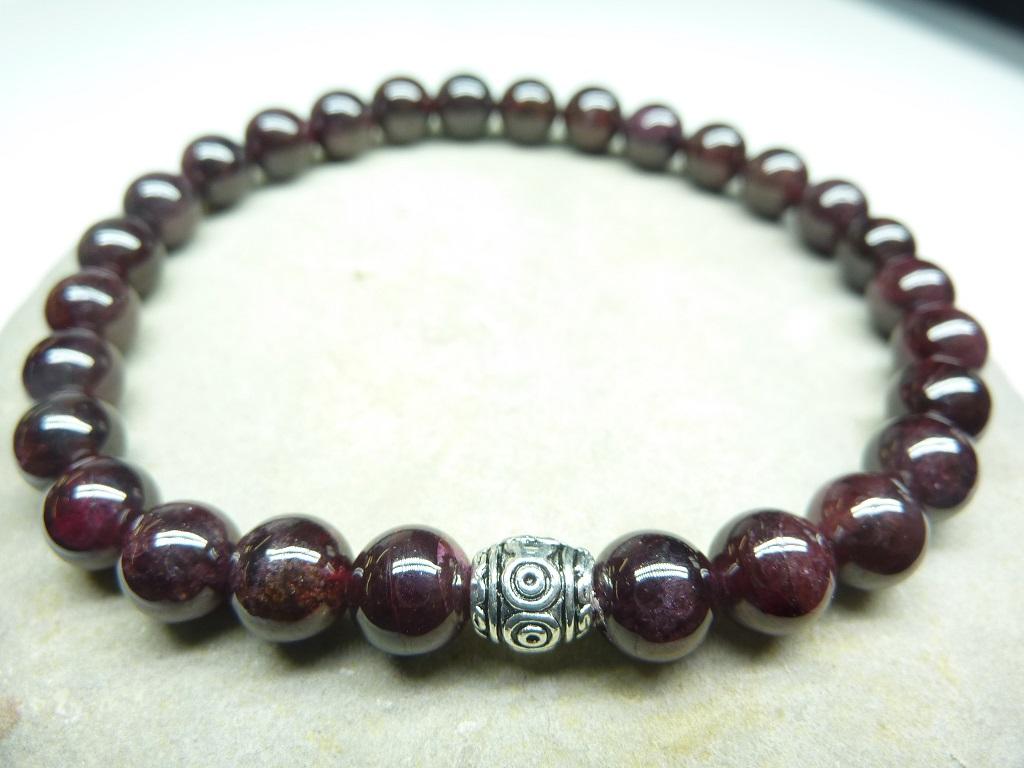 Bracelet Grenat - Perles rondes 6 mm