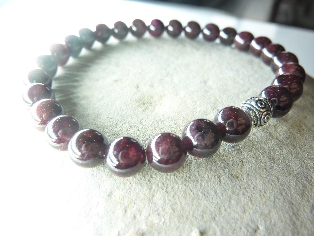Bracelet Grenat en perles rondes 6 mm