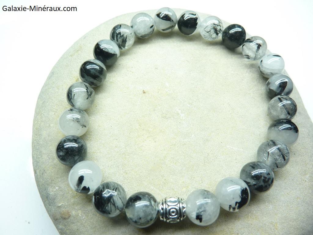 Bracelet Quartz tourmaliné en perles rondes 8 mm