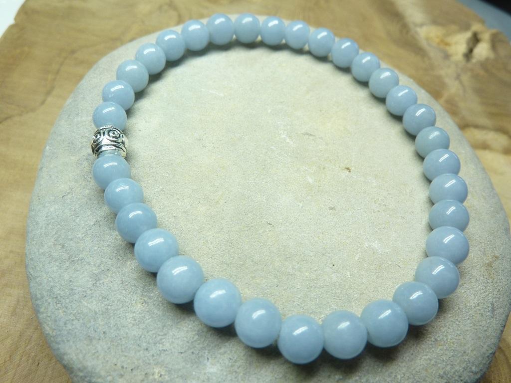Bracelet Angélite en perles rondes 6 mm