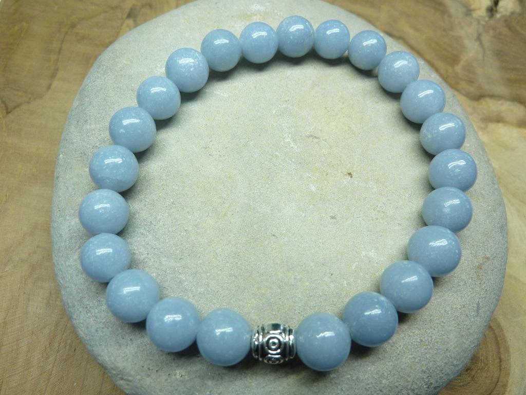 Bracelet Angélite en perles rondes 8 mm
