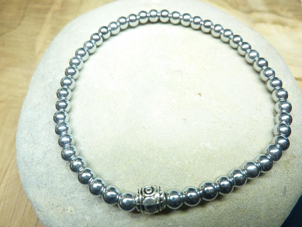 Bracelet Hématite en perles rondes 4 mm
