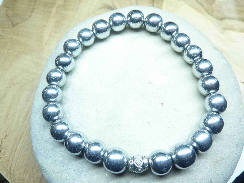 Bracelet Hématite en perles rondes 8 mm