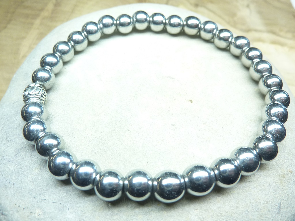 Bracelet Hématite en perles rondes 6 mm
