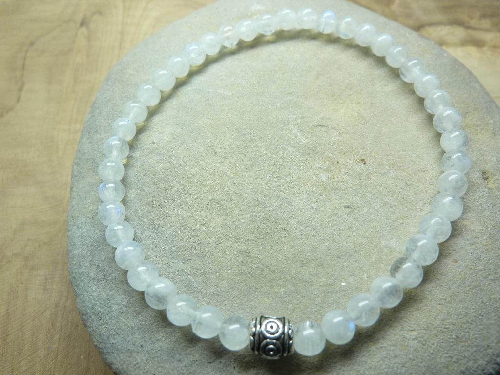 Bracelet Pierre de lune - rondes 4 mm