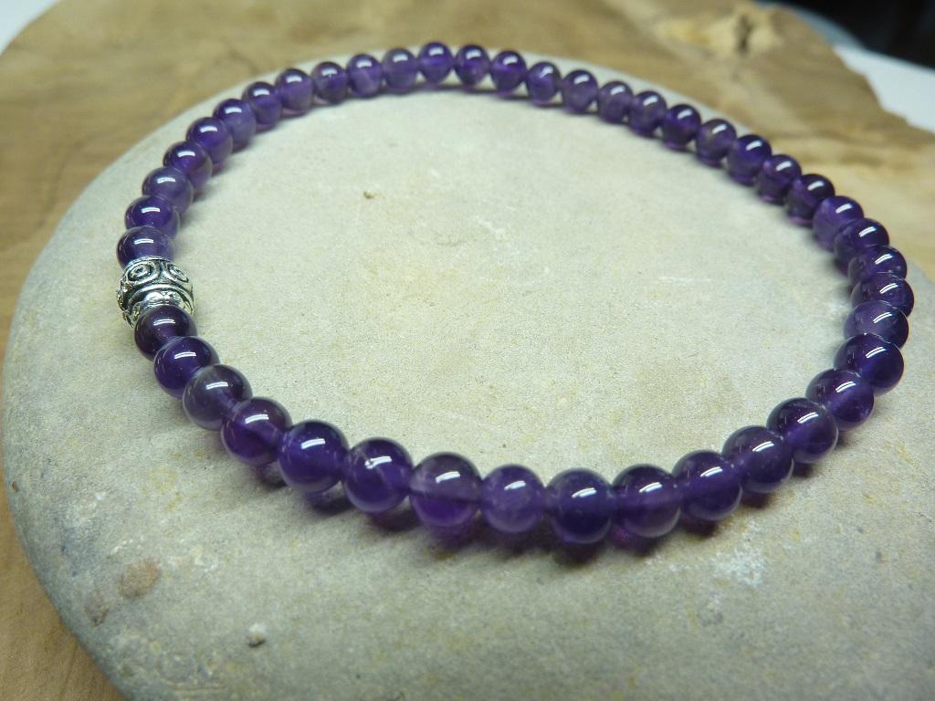 Bracelet Améthyste - Perles rondes 4 mm