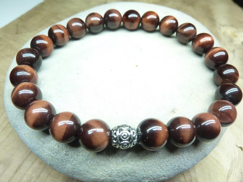 Bracelet Oeil de taureau - Perles rondes 8 mm