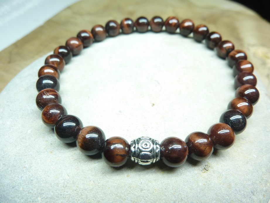 Bracelet Oeil de taureau - Perles rondes 6 mm