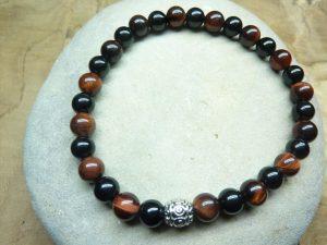 Bracelet Oeil de taureau-Tourmaline noire Perles rondes 6 mm
