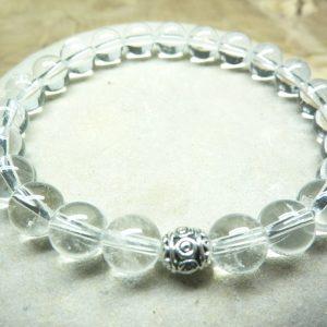 Bracelet cristal de roche - perles rondes 8 mm